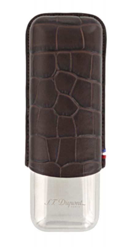 S.T. Dupont Zigarrenetui Croco Dandy Braun