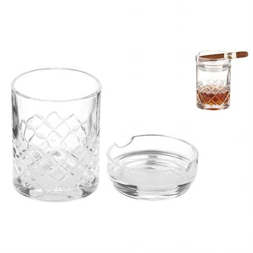 Whiskyglas mit Cigarrenablage